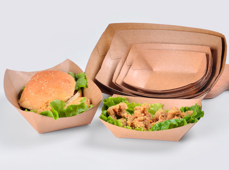 (Box/1000/500 Only) Kraft Paper Boat Box Disposable Thickening Fried Chicken Fries Snack Fruit Salad Hot Dog Open Tray (Door Delivery Included)