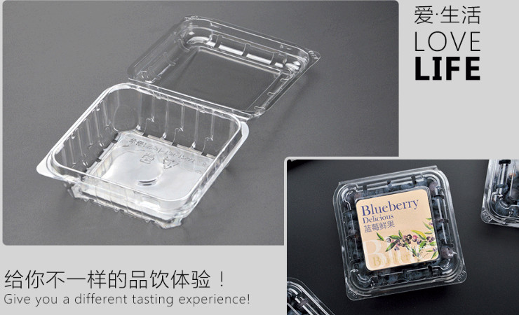 (Box/1200) Blueberry Box 125G Disposable Fruit Box Transparent Blister Pet Thick Square Plastic Package Breathable (Door Delivery Included)