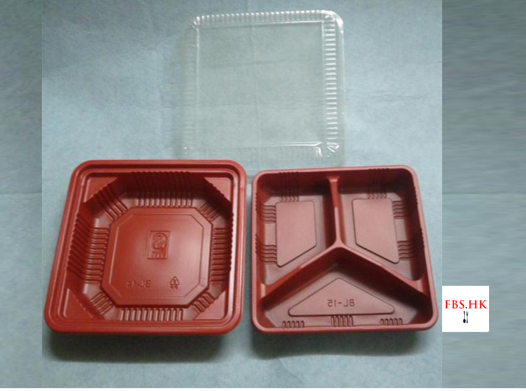 (Box/1200 Sets) Red And Black Double-Layer Three-Grid Lunch Box Disposable Red And Black Lunch Box Wholesale Two-Level Multi-Grid Lunch Box Two-Tier 800-1000Ml (Door Delivery Included)