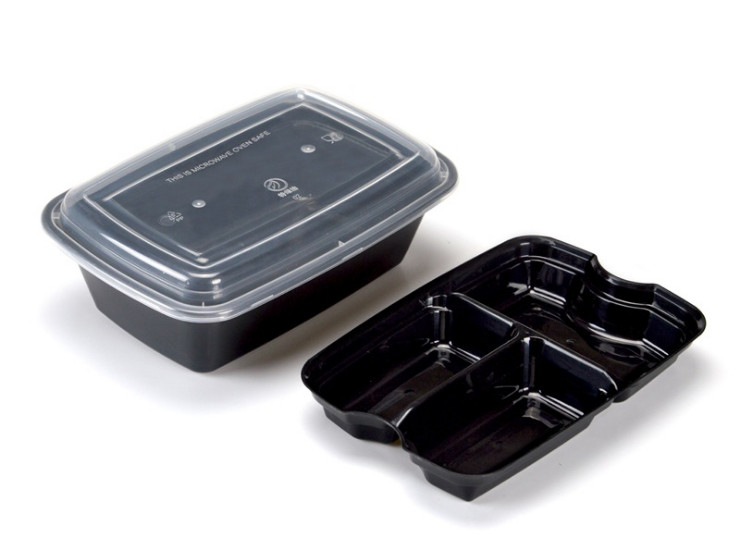 (Box/150 Sets) 1250Ml Double-Layer Packing Box Disposable Lunch Box Plastic Box Fast Food Packaging Take-Out Box Business Lunch Box With Lid (Door Delivery Included)