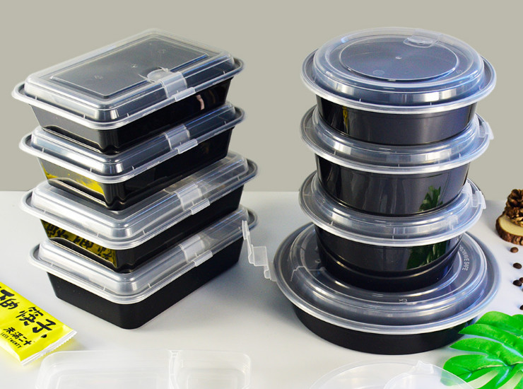 (Box/150 Sets) Disposable Lunch Box Thickened Takeaway Packing Box High-Grade Double-Layer Lunch Box Pp Injection Black Snack Box (Square Round Variety) (Door Delivery Included)