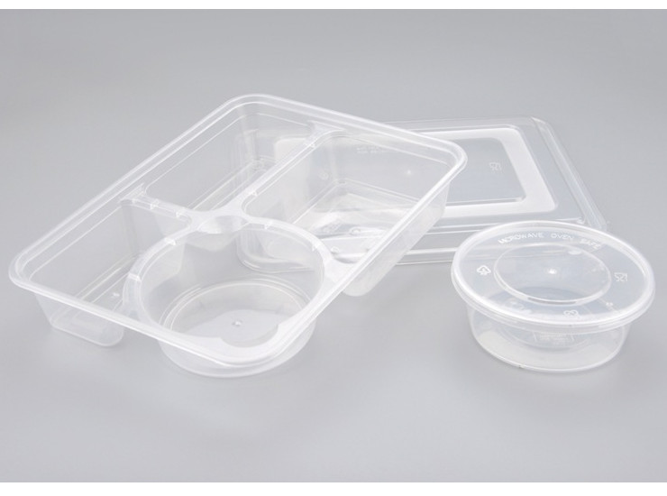 (Box/150 Sets) Disposable Lunch Box Transparent Four Take-Away Lunch Box Thickened Fast Food Box (Door Delivery Included)