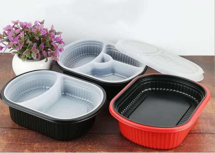 (Box/150 Sets) Disposable Multi-Purpose Lunch Box High-Grade Double-Layer Packing Box Pp Plastic Take-Out Fast Food Box 1000Ml (Door Delivery Included)