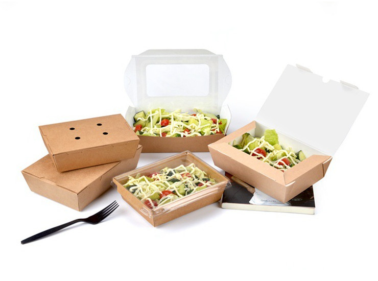 (Box/200) Disposable Lunch Box Square Thick Kraft Paper Packaging Box Single Paper Takeaway Salad Box (Door Delivery Included)