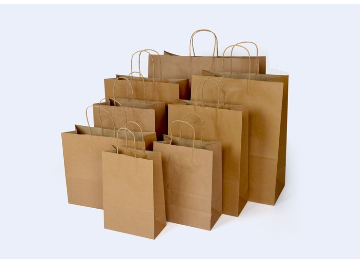 (Box/200) Disposable Paper Bag Yellow Kraft Paper Bag Clothing Gift Bag Baked Take-Away Bag 10 Different Sizes (Door Delivery Included)