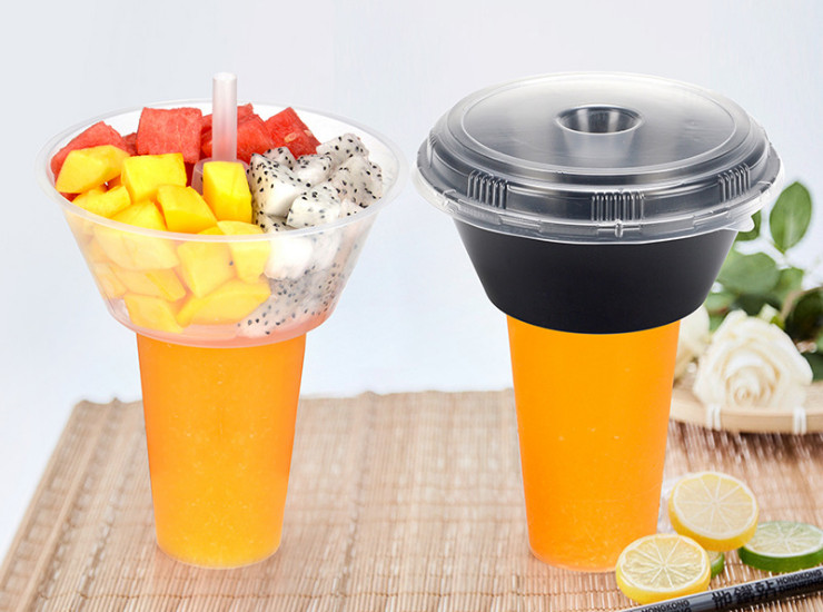 (Box/200) Disposable Tea Cup With Fruit Salad Tray Steak Cup With Tea Cup Drink Juice Cup (Door Delivery Included)