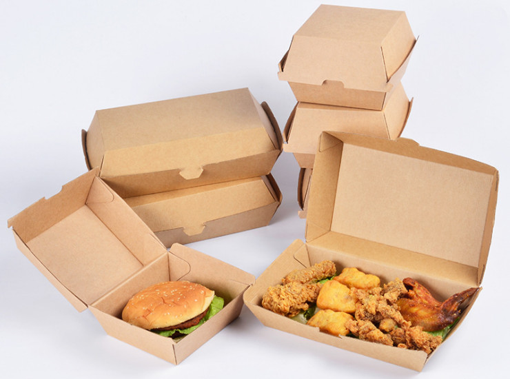 (Box/200) Hamburger Box Disposable Corrugated Fried Chicken Snack Chicken Rice Food Packaging Carton Thickening Packaging Box (Door Delivery Included)