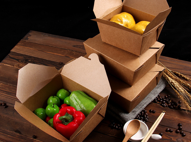 (Box/300) Kraft Paper Box Disposable Lunch Box Wholesale Packing Box Lunch Box Fast Food Box Take-Out Box Packing Box Take-Away (Door Delivery Included)