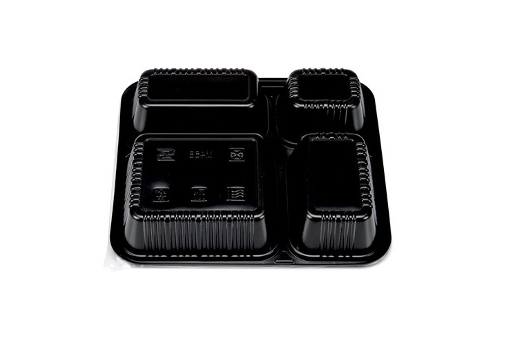 (Box/200 Sets) Disposable Lunch Box Four Grid/Five Grid Black Packaging Box Microwave Lunch Box Plastic Takeout Lunch Box With Lid (Door Delivery Included)