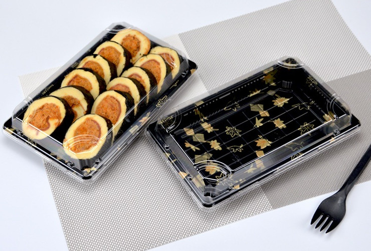 (Box/200 Sets) Disposable Packing Box Thicken Sushi Takeaway Box Printed Sashimi Sushi Box With Lid (Door Delivery Included)