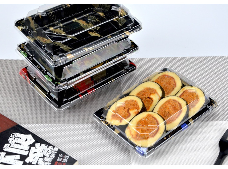 (Box/200 Sets) Disposable Sushi Box Plastic Tray Fruit Plate Printed Cake Box Sashimi Packing Box (Door Delivery Included)