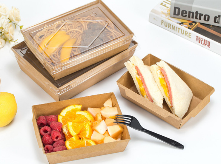 (Box/200 Sets) Meal Box Single Kraft Paper Meal Box White Cardboard Pe Coated Paper Meal Box Square Box (Door Delivery Included)