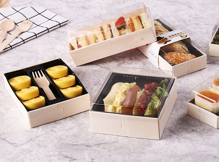 (Box/200 Sets) Wooden Box High-Grade Wooden Baking Box Cake Snack Box Mung Bean Cake Moon Cake 6 Tablets 10 Capsules Boxed Sushi Packaging Box