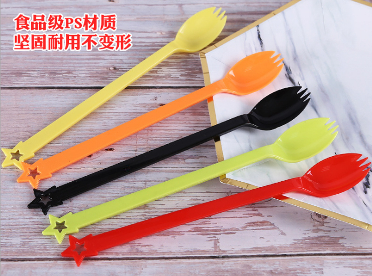 (Box/2000) Disposable Five-Star Long Handle Fork Spoon Dessert Coffee Stirring Spoon Smoothie Ice Cream Long Spoon Fruit Fork (Door Delivery Included)