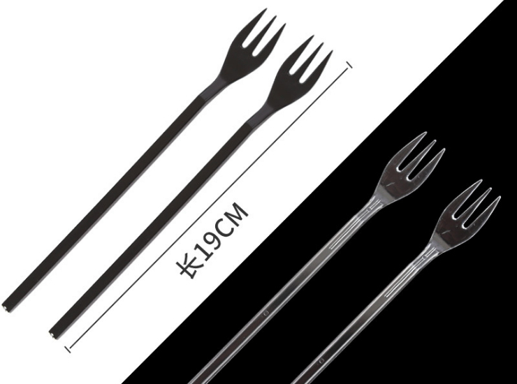 (Box/2000) Long Thick Hard Fruit Tea Fork Disposable Fork Tea Shop Plastic Long Handle Fruit Fork Takeaway Dessert Fork (Door Delivery Included)