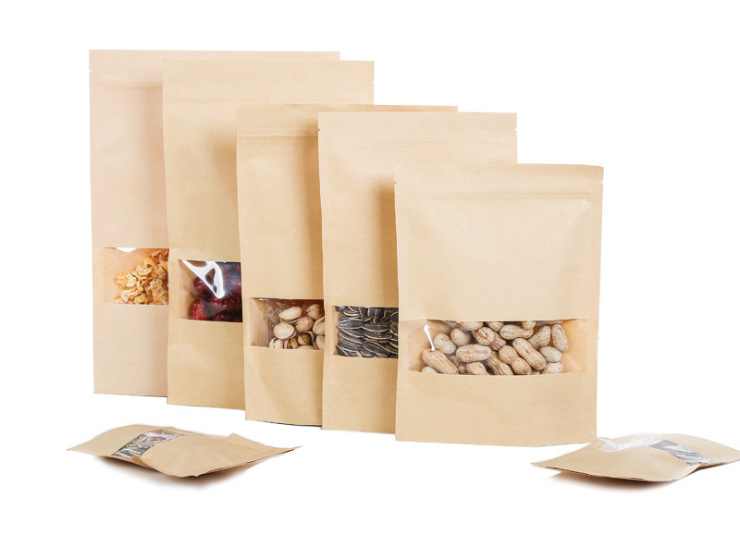 (Box/2000 Pcs) Tea Bag Kraft Self-supporting Ziplock Bag Window Kraft Paper Bag Nut Food Bag Dry Fruit Pack (Door Delivery Included)