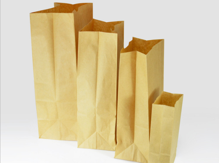 (Box/2000/1000) Disposable Handmade Kraft Paper Bag Baked Food Packing Bag Oilproof Square Bottom Bread Bag (Door Delivery Included)