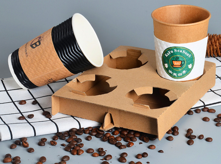 (Box/300) Disposable Corrugated Four-Piece Cup Holder Coffee Milk Tea Package Cup Holder For Take-Out Anti-Overflow Cup Bottom Support (Door Delivery Included)