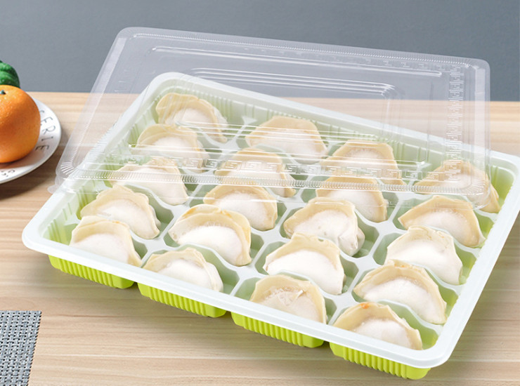(Box/300) Disposable Plastic Dumpling Box 12 15 18 20 Extra-Fresh Frozen Dumplings Take-Out Packaging Box Lunch Box (Door Delivery Included)