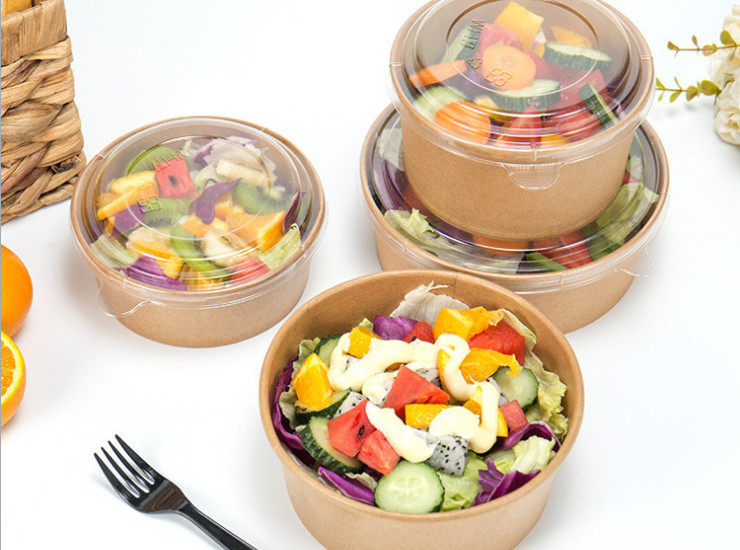 (Box/300 Sets) Disposable Kraft Paper Bowl High-Grade Salad Bowl Export Kraft Paper Tableware 750-1300Ml (Door Delivery Included)