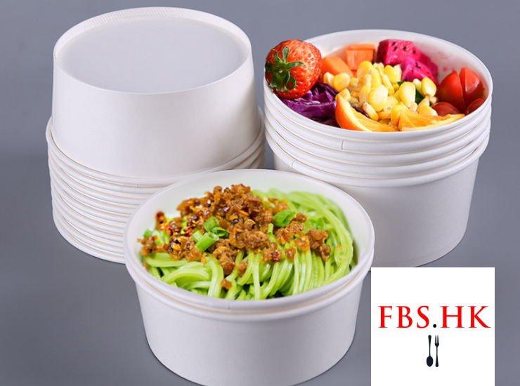 (Box/300 Sets) Disposable Paper Bowl White Card Paper Fruit Salad Fried Rice Box Takeaway Pasta Thick Round Thick Double Film (Door Delivery Included)