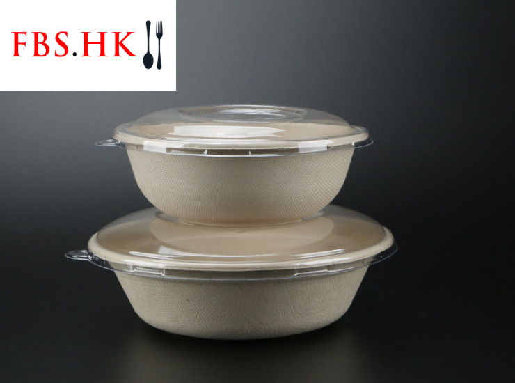 (Box/300 Sets) Disposable Takeaway Packaging Bowl Round Wheat Straw Pulp Lunch Box Bowl Environmentally Friendly Degradable Pulp Salad Bowl Pet Transparent Cover High Temperature Resistant Microwave (Door Delivery Included)