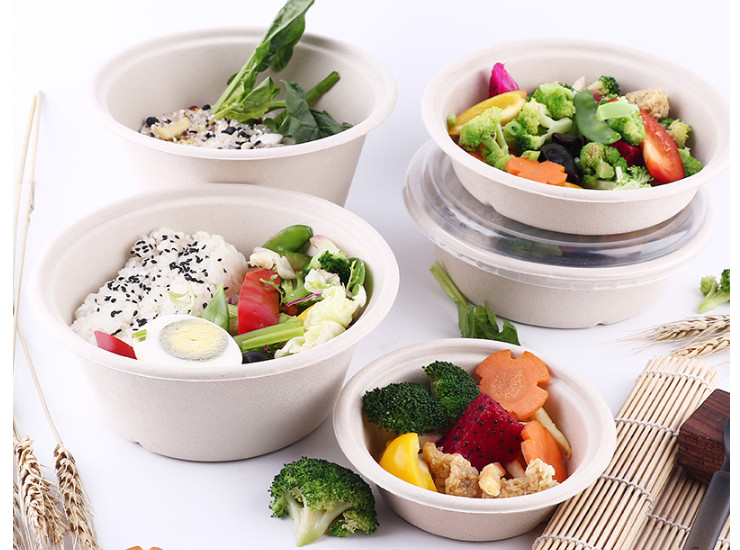 (Box/300 Sets) Environmentally Friendly Pulp Bowl Disposable Degradable Lunch Box Round Package Bowl Takeaway Snack Box Takeaway Lunch Box Lunch Box (Door Delivery Included)