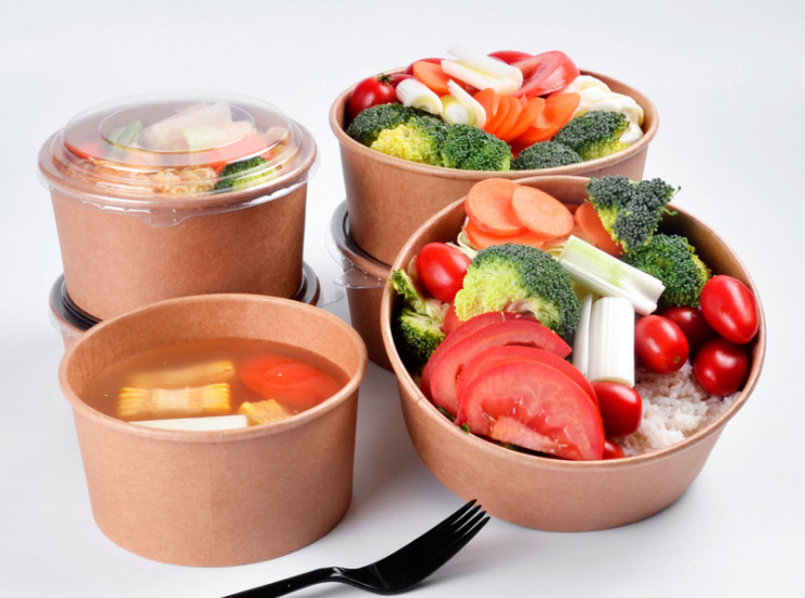 (Box/300 Sets) Kraft Paper Bowl Disposable Fast Food Takeaway Package Soup Bowl Fruit Noodle Salad Lunch Box Round Paper Bowl (Door Delivery Included)