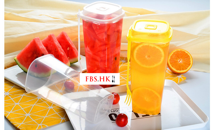 (Box/300 Sets) New Square Cup Disposable Pp Injection Cup Transparent Milk Tea Fruit Fishing Cup 960Ml Square Cup With Cover Fork