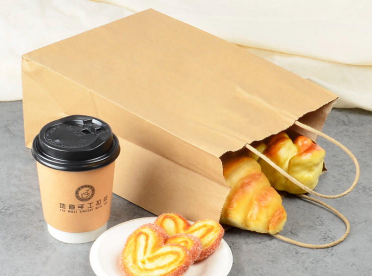 (Box/300/500 Only) Kraft Paper Shopping Bag Cake Dessert Takeaway Packaging Paper Bag (Door Delivery Included)