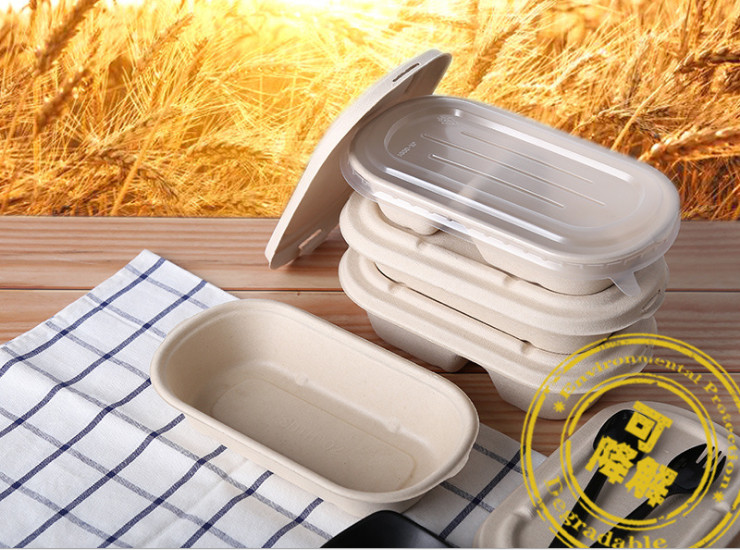 (Box/300/500 Sets) Straw Degradable Lunch Box Disposable Bowls Environmentally Friendly Tableware Pulp Box Paper Lunch Box Takeaway Compartment Packing Box (Door Delivery Included)