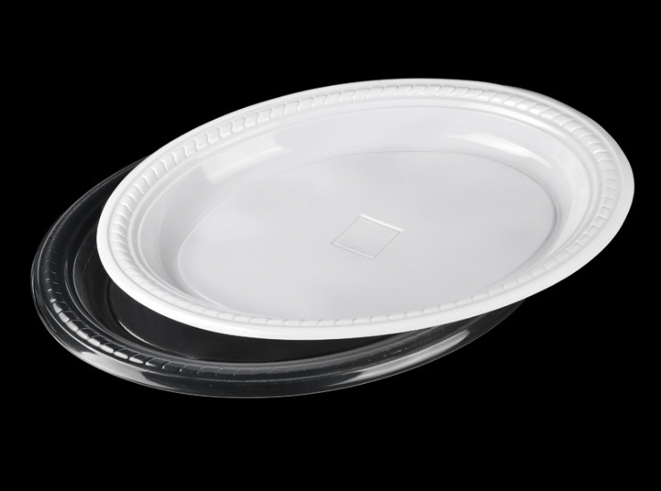 (Box/500) Disposable Food Plastic Plate White 30Cm Large Oval Dish Thick Pp Barbecue Fresh Fruit Tray (Door Delivery Included)