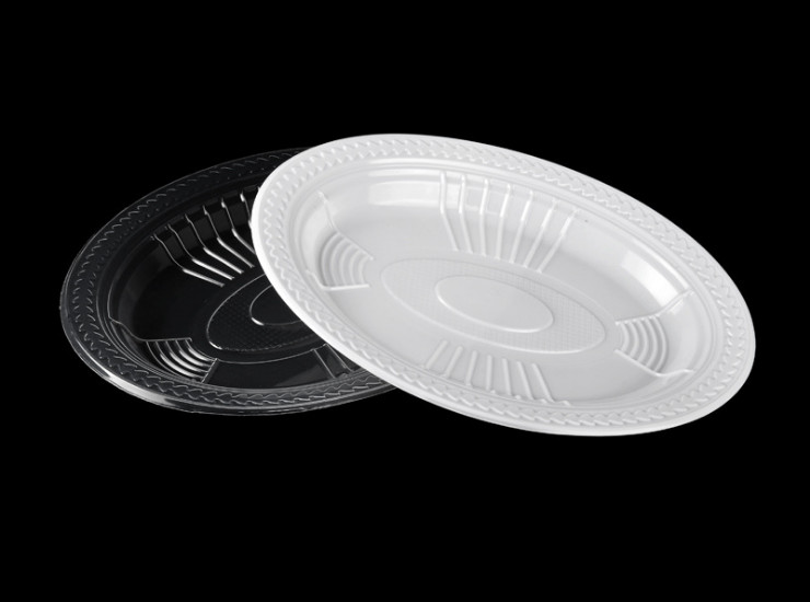 (Box/500) Disposable Thick Plastic Transparent White Large Plate Party Party Barbecue Convenient Tray Dish (Door Delivery Included)