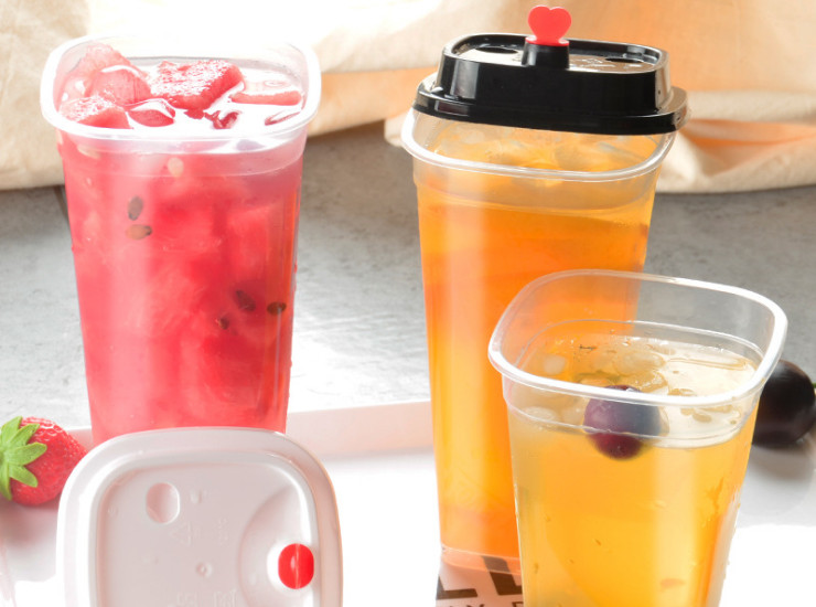 (Box/500) New One-Square Milk Tea Cup Thick Transparent Juice Drink Cup 400/500/600Ml Square Cup Injection Cup (Door Delivery Included)