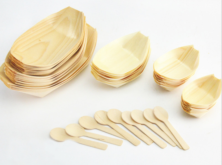(Box/500 Pcs) Disposable Wooden Kayak Packing Box Tableware Sushi Dish Water Letter Black-Stained Cake Boat-Shaped Sushi Boat (Door Delivery Included)