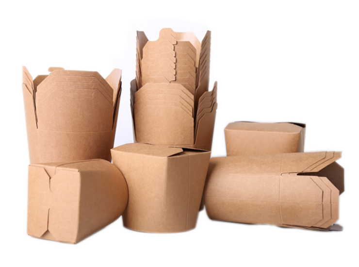(Box/500 Pcs) One-Time Thick Kraft Paper Round Box Noodle Barrel Packed For Sale Of Rice Noodles (Door Delivery Included)