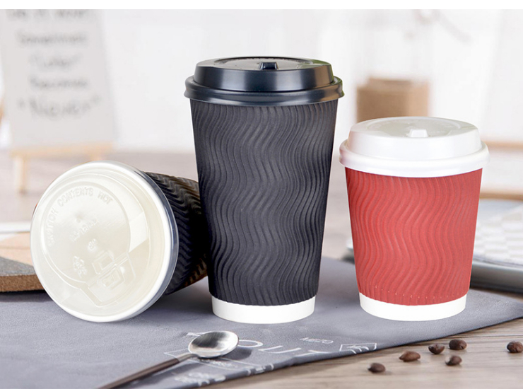 (Box/500 Sets) Vertical Double-Layer Paper Cup Disposable Cup Anti-Scalding Corrugated Coffee Cup Tea Hot Drink Cup With Cover (Door Delivery Included)