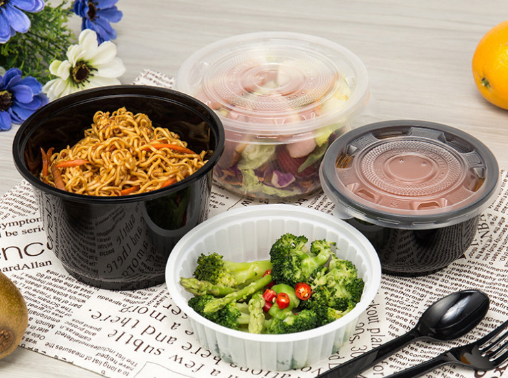(Box/600) Disposable Plastic Pp Printing Injection Bowl White Transparent Black Disposable Lunch Box (Door Delivery Included)