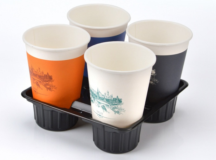 (Box/600) Four-Hole Plastic Cup Holder Disposable Coffee Cup Holder 4 Cups Four Grid Paper Cup Tea Cup Packing Takeaway Care (Door Delivery Included)
