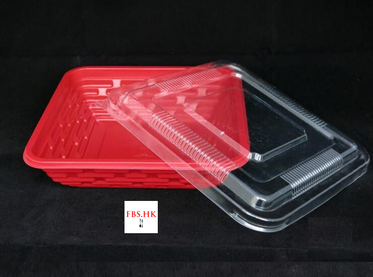 (Box/600 Sets) China Pavilion Lunch Box Disposable Color Lunch Box Kfc Square Red Rice Box Thicken 800-1000Ml (Door Delivery Included)