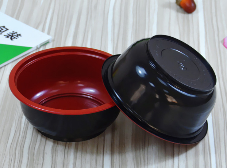 (Box/600 Sets) Disposable 360Ml Red And Black Round Bowls Boutique Thickened High Temperature Soup Porridge Packing Box Catering Takeaway Plastic Bowl (Door Delivery Included)