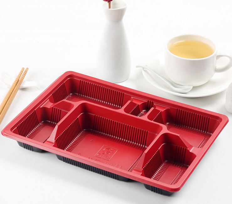 (Box/600 Sets) Six Grid Black Red Disposable Lunch Box Large Plastic Packing Box Takeaway Business Lunch Box Fast Food Lunch Box With Lid (Door Delivery Included)