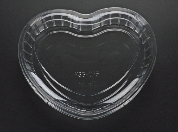 (Box/600) Transparent Heart-Shaped Fruit Box Pet Plastic Salad Box Supermarket Fruit Box Crisper With Lid (Door Delivery Included)