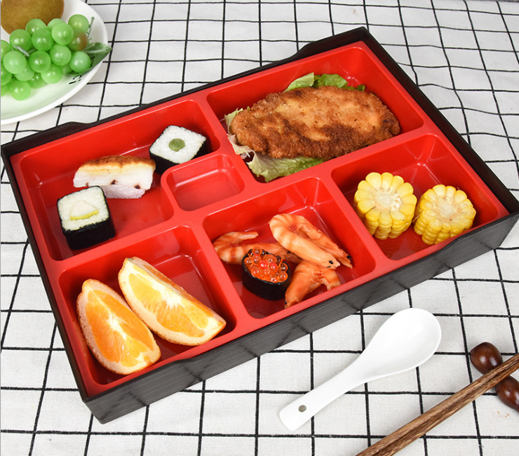 Business Lunch Box Japanese Sushi Tableware Hotel Restaurant Lunch Box Fast Food Lunch Box Large Six-Compartment