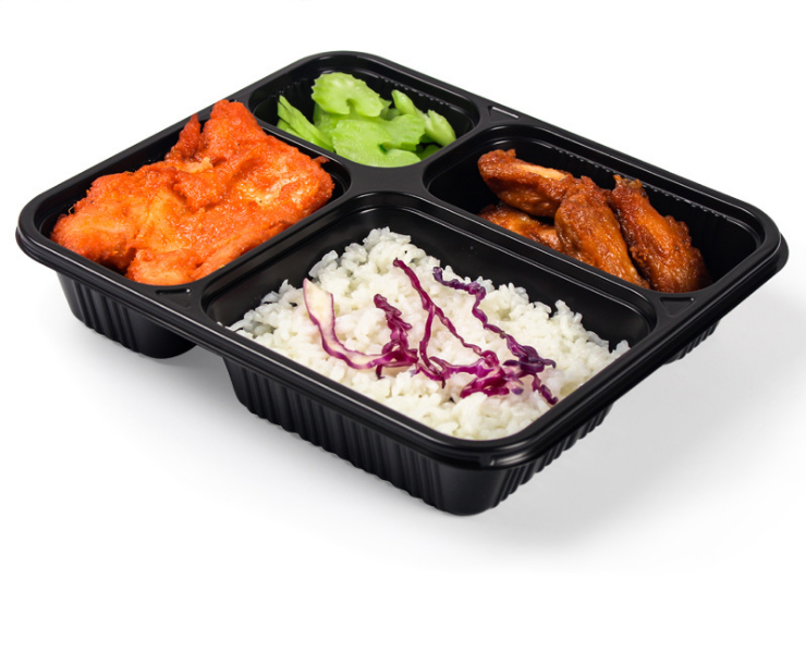 (Box / 200 Sets) Cardboard Four-Grid Plastic Takeout Box Takeaway Fresh-Keeping Fast Food Box (Including Door Delivery)