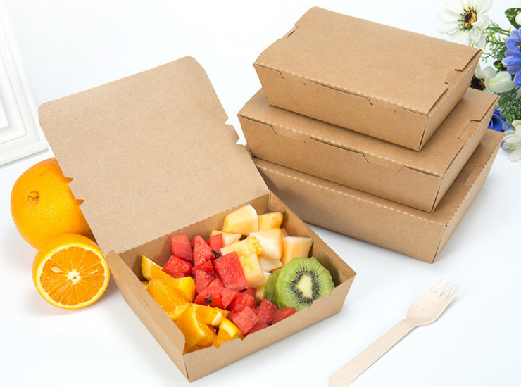 (Carton/200) Kraft Paper Lunch Boxes Disposable Paper Lunch Boxes Salad Carton Environmentally Friendly Kraft Packaging Boxes (Door Delivery Included)