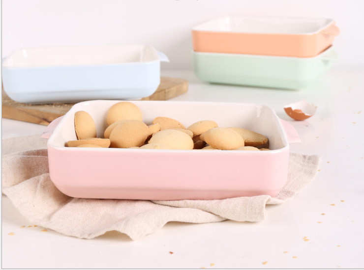 Ceramic Baking Abrasives Baking Tray Creative Matte Cheese Baking Rice Plate Household Baking Grinders Glossy Glaze West Plate Rectangular Baking Tray Wholesale