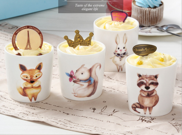 Ceramic Baking Abrasives Pudding Cup Cute Cartoon Animals Creative Pudding Cup Cheese Cup Mousse Cup Cup Ceramic Baking Mold