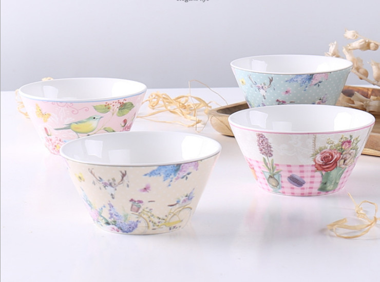 Ceramic Bone Bowl Bowl European Style Flower Bird Bone Porcelain Bowl Salad Bowl Retro Creative Ceramic Soup Bowl Fruit Bowl Set Wholesale