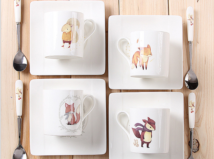 Ceramic Bone Cafe Coffee Cocktail Cute Animal Cartoon Creative Continental Cuisine Coffee Couple Coffee Cup Dishes Gift Set Wholesale